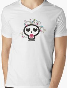 Pucker up skull heart eyes flowers Valentines Day Mens V-Neck T-Shirt