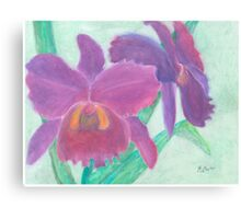 Beautiful Purple Orchid - Oil Pastel  Canvas Print