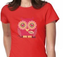 Funny kiss owl hearts Valentines Day Womens Fitted T-Shirt