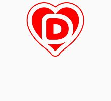 Heart D letter Womens Fitted T-Shirt
