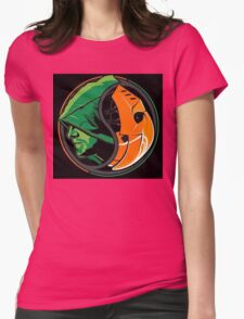 Arrow Deathstroke Yin Yang Womens Fitted T-Shirt