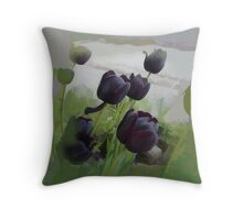 abstract of Black Tulips Throw Pillow