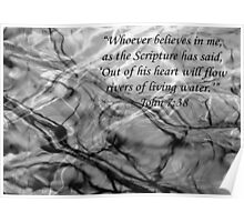 John 7 verse 38 New Testament Water Branches Poster Poster