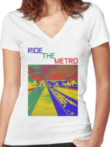 HELP THE WORLD SAVE GAS - RIDE THE METRO Women's Fitted V-Neck T-Shirt