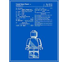 Lego Man Patent - Blueprint (v1) Photographic Print