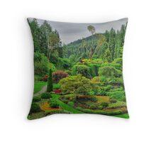 Victoria Canada Butchart Garden Throw Pillow