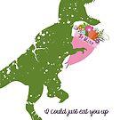 Derpy t-rex dinosaur flower bouquet Valentines Day by BigMRanch