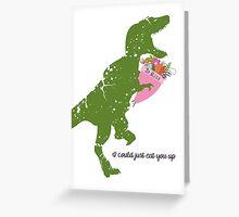 Derpy t-rex dinosaur flower bouquet Valentines Day Greeting Card
