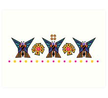 Butterfly Medallion Stripe Art Print