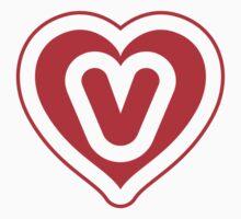 Heart V letter One Piece - Short Sleeve