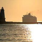 Car Ferry Passes Lighthouse by BarbsUSA