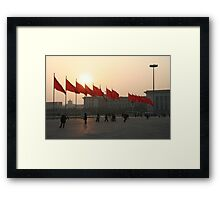 The red flags of Tiananmen Framed Print
