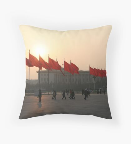 The red flags of Tiananmen Throw Pillow