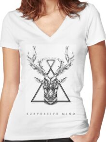 Subversive Mind 1 Women's Fitted V-Neck T-Shirt