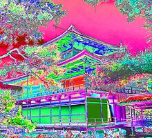 Colorful Golden Temple,  Kyoto,  Japan by Peter Schneiter