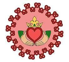 Claddagh and Red Knotwork on Pink by Richard Fay