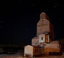 wooden grain terminal at night by matttatts
