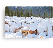 Among the Rocks: Autumn Snow in The Rockies Canvas Print