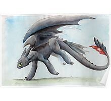 HTTYD Toothless Watercolour Poster