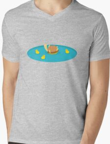 Swimming with the Ducks Mens V-Neck T-Shirt