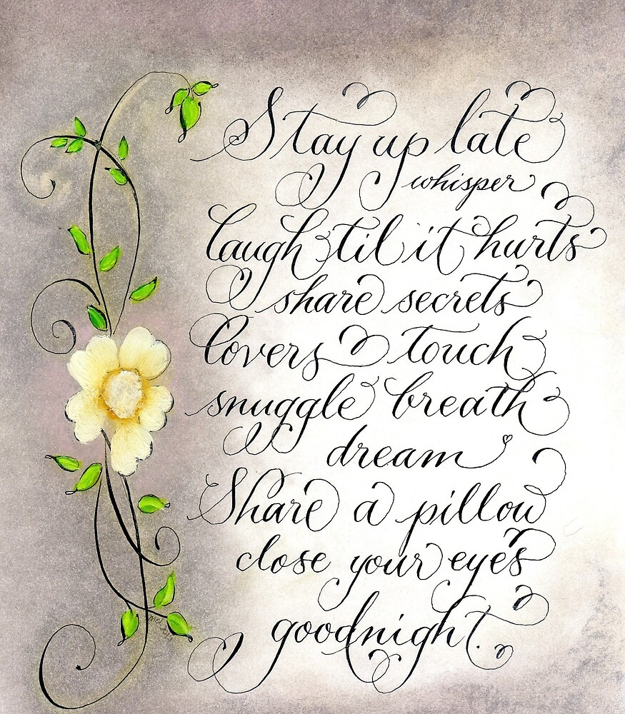 Romantic quote for lovers calligraphy art by Melissa Goza