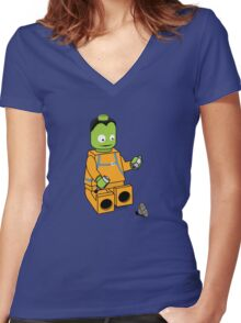 Space Legos Women's Fitted V-Neck T-Shirt