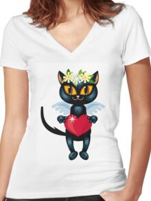 Black cat flying like an angel with red heart Women's Fitted V-Neck T-Shirt