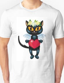 Black cat flying like an angel with red heart T-Shirt