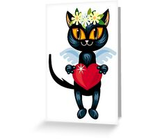Black cat flying like an angel with red heart Greeting Card
