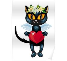 Black cat flying like an angel with red heart Poster
