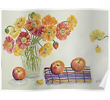Poppies and Apples Poster