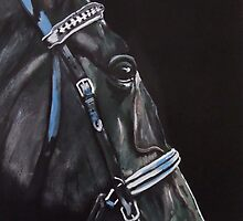 Dark Horse  - Study in Acrylics by Julie Hollis