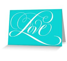 Elegant White Flourished 'Love' Calligraphy Script Hand Lettering on Aqua Blue Greeting Card