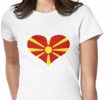 Macedonia flag heart Womens Fitted T-Shirt