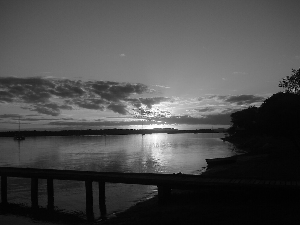 B&W-Sedgers Reef Hotel Jetty Sunset by Martice
