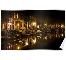 Amsterdam night: canal in Red District Poster