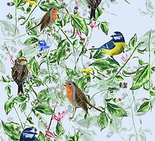 hand painted birds and flowers by hollievictoriat