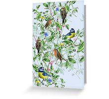 hand painted birds and flowers Greeting Card