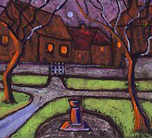 Moonlit garden by sword