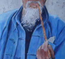 Old man smoking Sticker