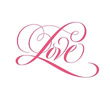Feminine Pink Flourished 'Love' Calligraphy Script Hand Lettering by 26-Characters
