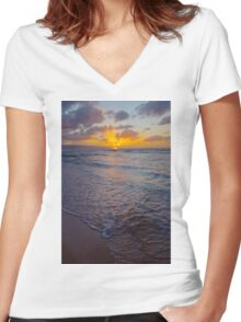 North Shore Sunset Women's Fitted V-Neck T-Shirt