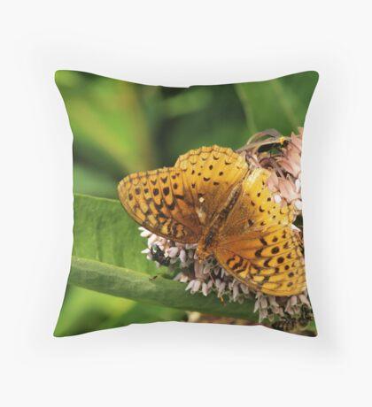 Sharing the milkweed Throw Pillow