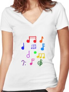 Colorful Music Notes  Women's Fitted V-Neck T-Shirt