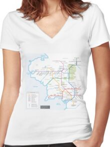 Middle Earth Transit Map Women's Fitted V-Neck T-Shirt