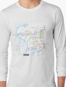 Middle Earth Transit Map Long Sleeve T-Shirt