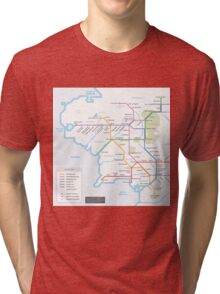 Middle Earth Transit Map Tri-blend T-Shirt
