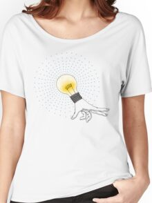 Runaway Idea lightbulb hand Women's Relaxed Fit T-Shirt
