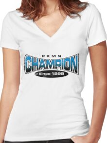Pokemon Champion_Blue Women's Fitted V-Neck T-Shirt