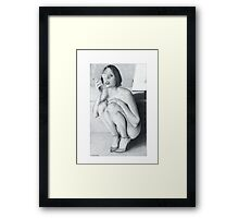 """Drawing"" The smoking girl Framed Print"
